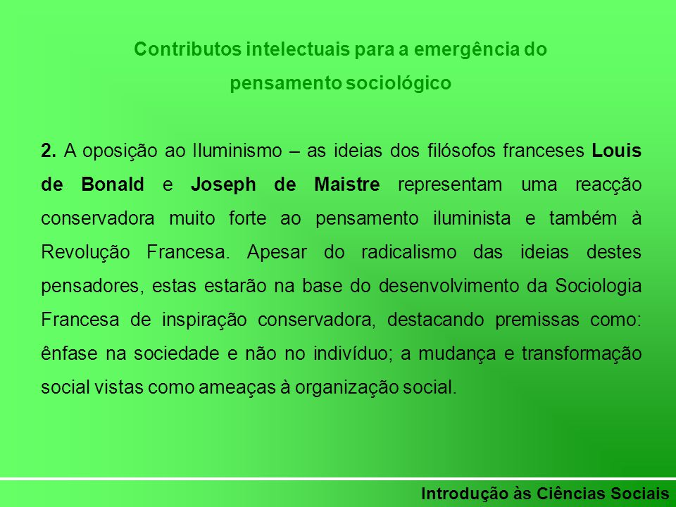 Contributos intelectuais para a emergência do pensamento sociológico
