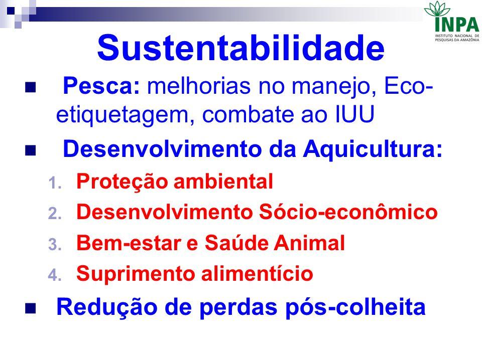 Sustentabilidade Pesca: melhorias no manejo, Eco-etiquetagem, combate ao IUU. Desenvolvimento da Aquicultura: