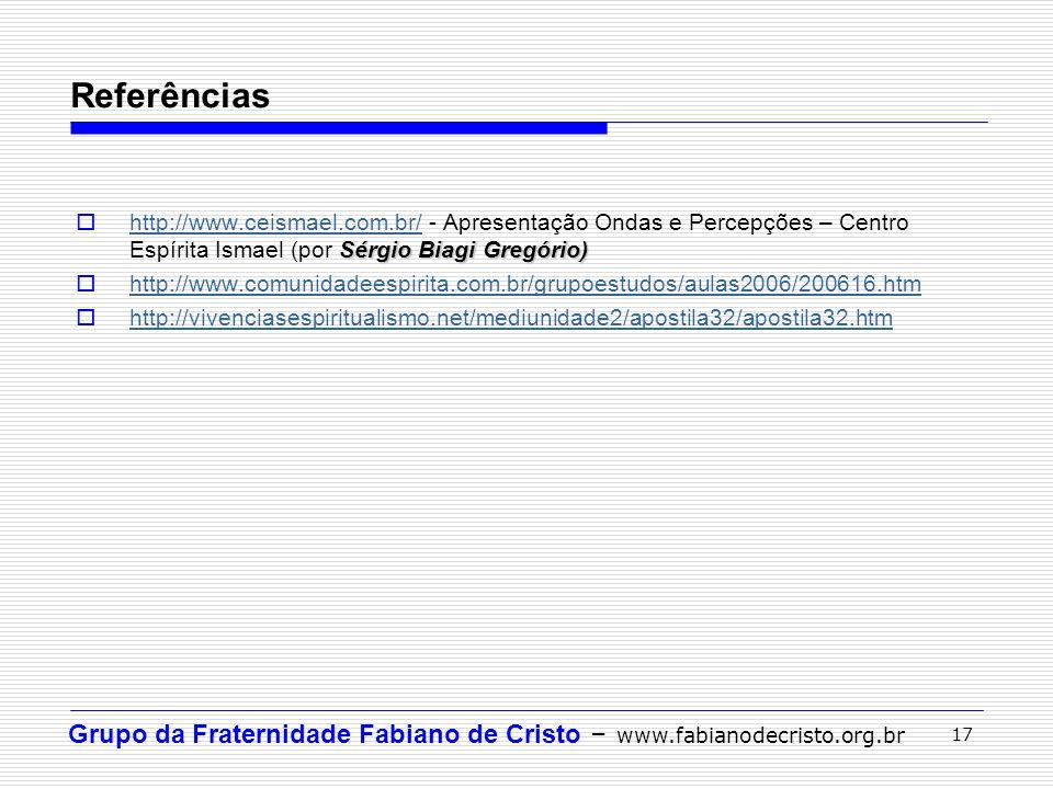 Referências http://www.ceismael.com.br/ - Apresentação Ondas e Percepções – Centro Espírita Ismael (por Sérgio Biagi Gregório)