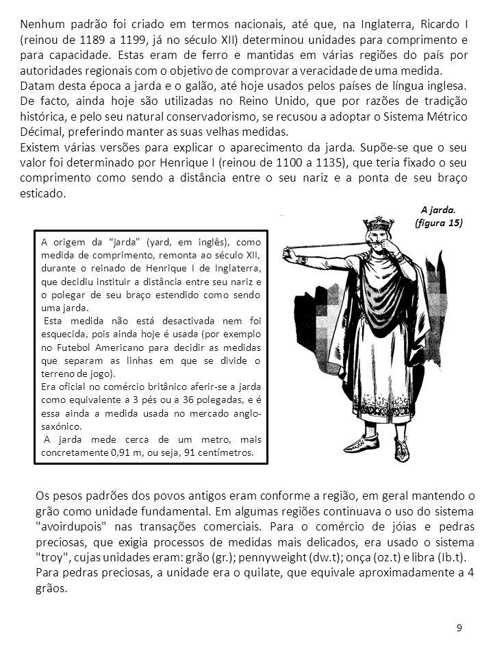 Nenhum padrão foi criado em termos nacionais, até que, na Inglaterra, Ricardo I (reinou de 1189 a 1199, já no século XII) determinou unidades para comprimento e para capacidade. Estas eram de ferro e mantidas em várias regiões do país por autoridades regionais com o objetivo de comprovar a veracidade de uma medida.
