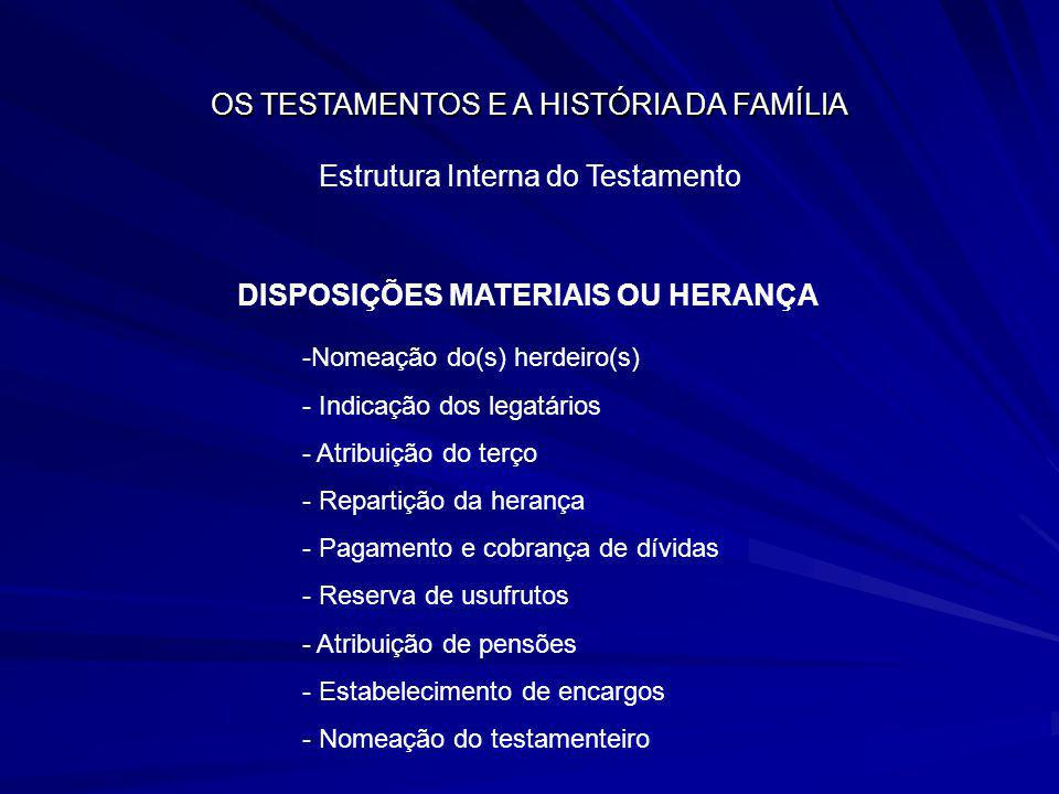 DISPOSIÇÕES MATERIAIS OU HERANÇA