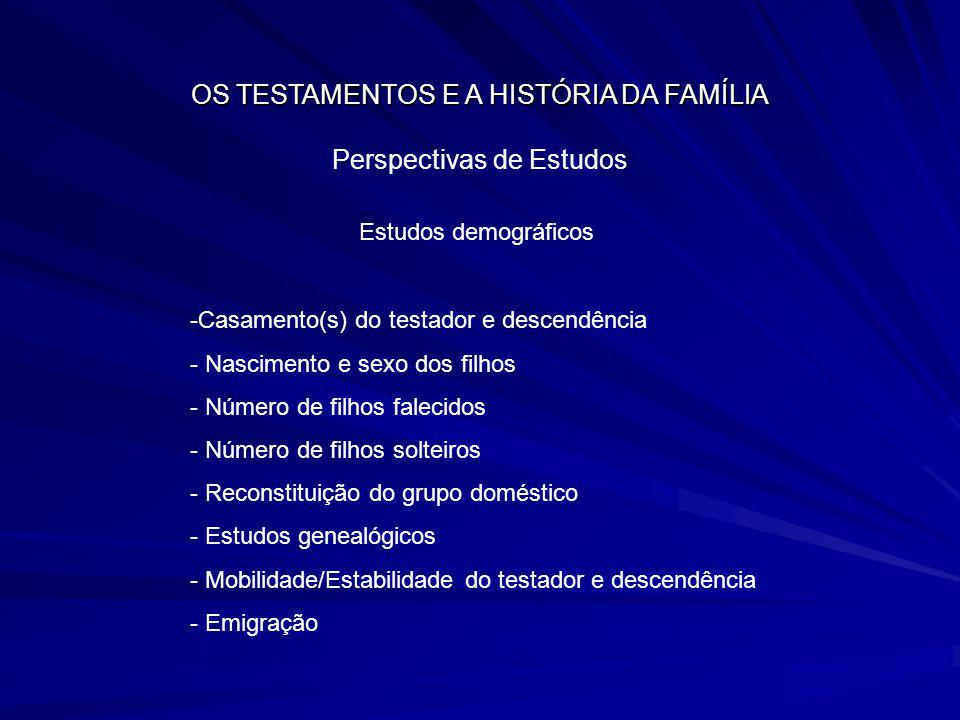OS TESTAMENTOS E A HISTÓRIA DA FAMÍLIA