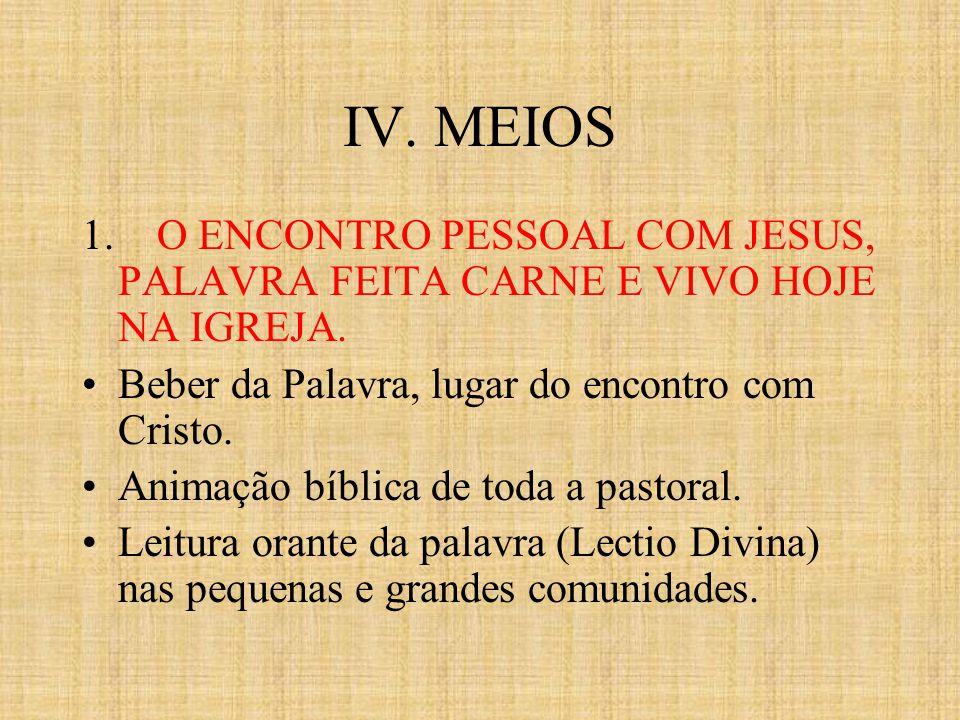 IV. MEIOS 1. O ENCONTRO PESSOAL COM JESUS, PALAVRA FEITA CARNE E VIVO HOJE NA IGREJA. Beber da Palavra, lugar do encontro com Cristo.