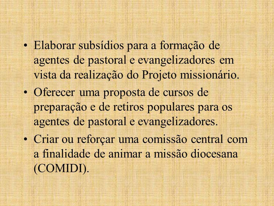 Elaborar subsídios para a formação de agentes de pastoral e evangelizadores em vista da realização do Projeto missionário.