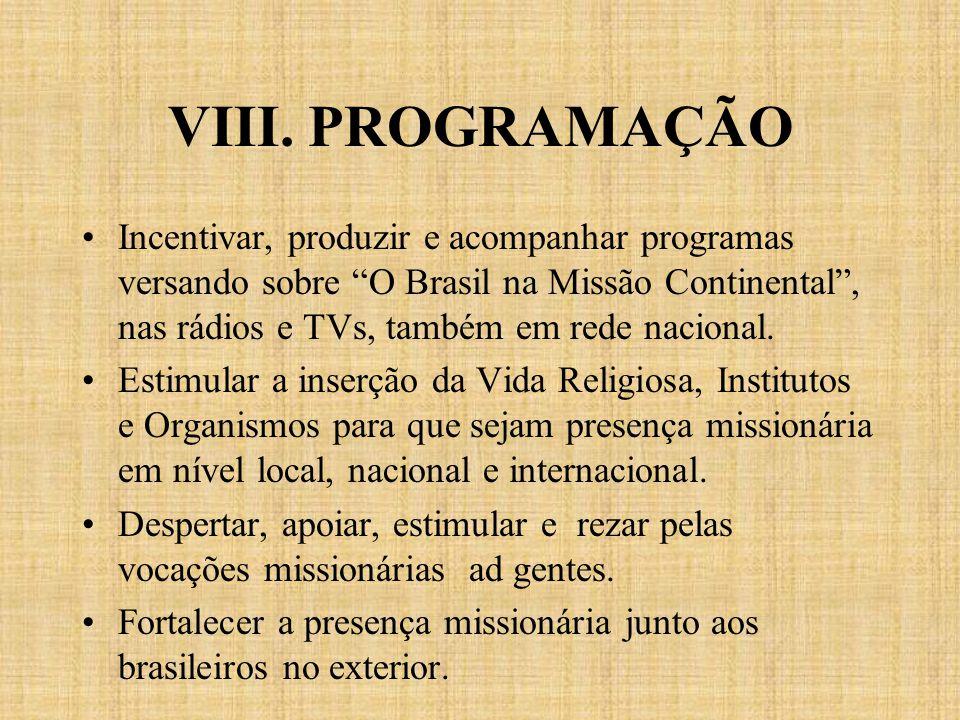 VIII. PROGRAMAÇÃO