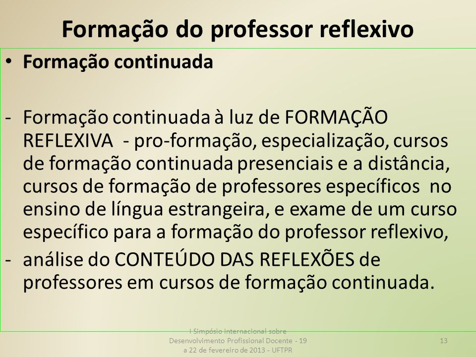 Formação do professor reflexivo