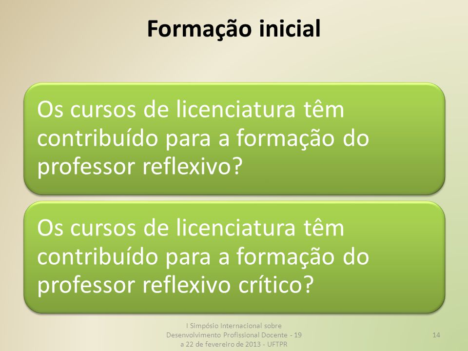 Formação inicial Os cursos de licenciatura têm contribuído para a formação do professor reflexivo