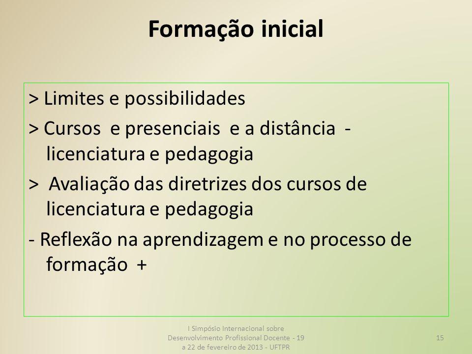Formação inicial > Limites e possibilidades