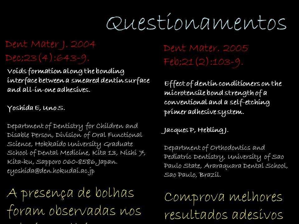 Questionamentos Dent Mater J. 2004 Dec;23(4):643-9.