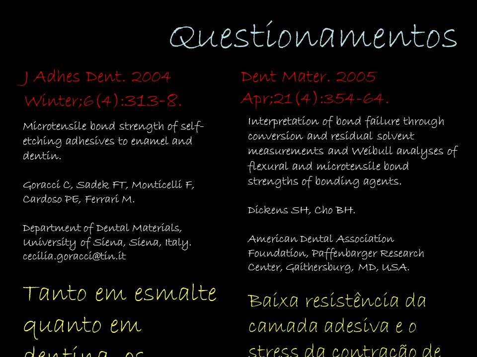 Questionamentos Dent Mater. 2005 Apr;21(4):354-64.