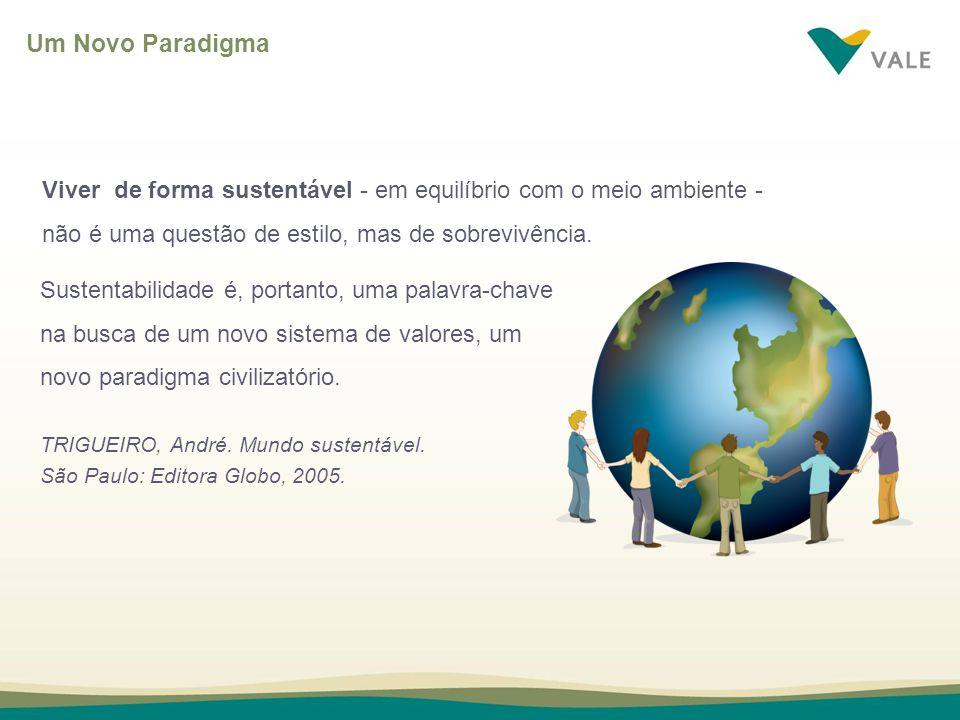 Um Novo Paradigma Viver de forma sustentável - em equilíbrio com o meio ambiente - não é uma questão de estilo, mas de sobrevivência.