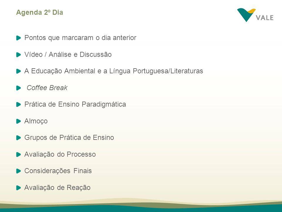 Agenda 2º Dia Pontos que marcaram o dia anterior. Vídeo / Análise e Discussão. A Educação Ambiental e a Língua Portuguesa/Literaturas.