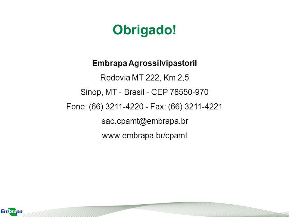 Obrigado! Embrapa Agrossilvipastoril Rodovia MT 222, Km 2,5 Sinop, MT - Brasil - CEP 78550-970 Fone: (66) 3211-4220 - Fax: (66) 3211-4221.