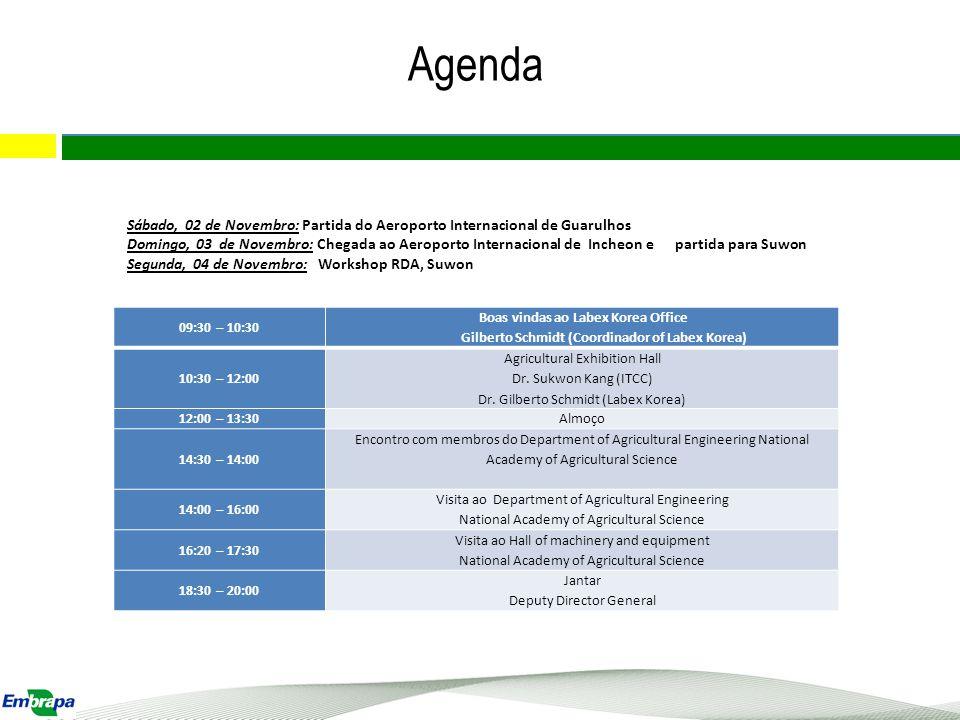 Agenda Sábado, 02 de Novembro: Partida do Aeroporto Internacional de Guarulhos.