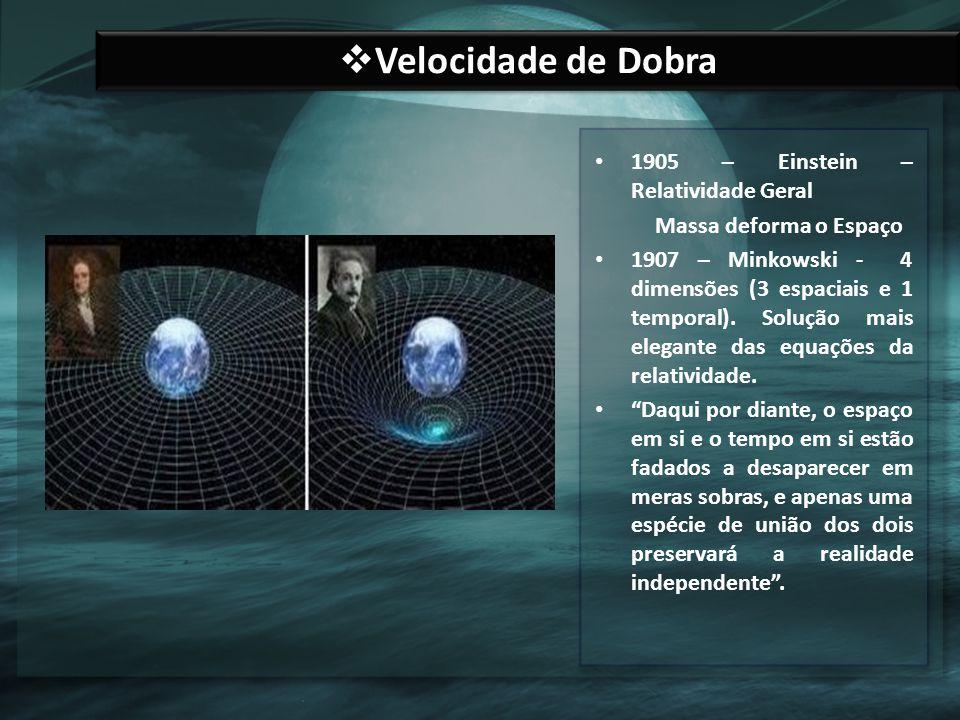 Velocidade de Dobra 1905 – Einstein – Relatividade Geral