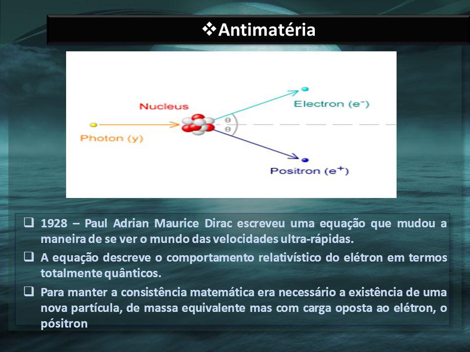 Antimatéria 1928 – Paul Adrian Maurice Dirac escreveu uma equação que mudou a maneira de se ver o mundo das velocidades ultra-rápidas.