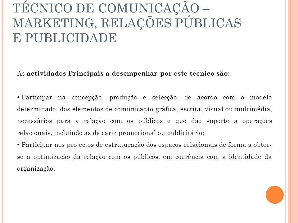 TÉCNICO DE COMUNICAÇÃO – MARKETING, RELAÇÕES PÚBLICAS E PUBLICIDADE