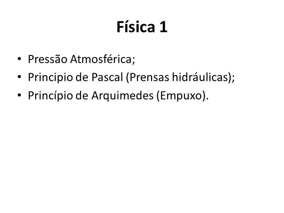Física 1 Pressão Atmosférica;