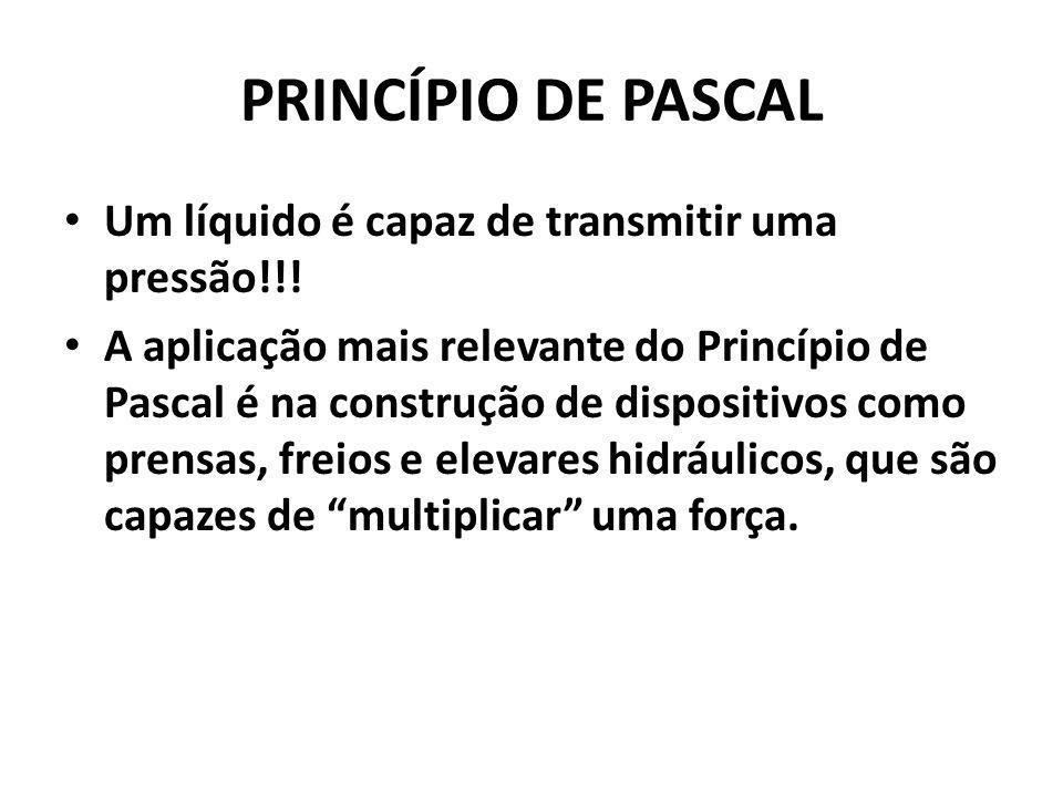 Princípio de Pascal Um líquido é capaz de transmitir uma pressão!!!