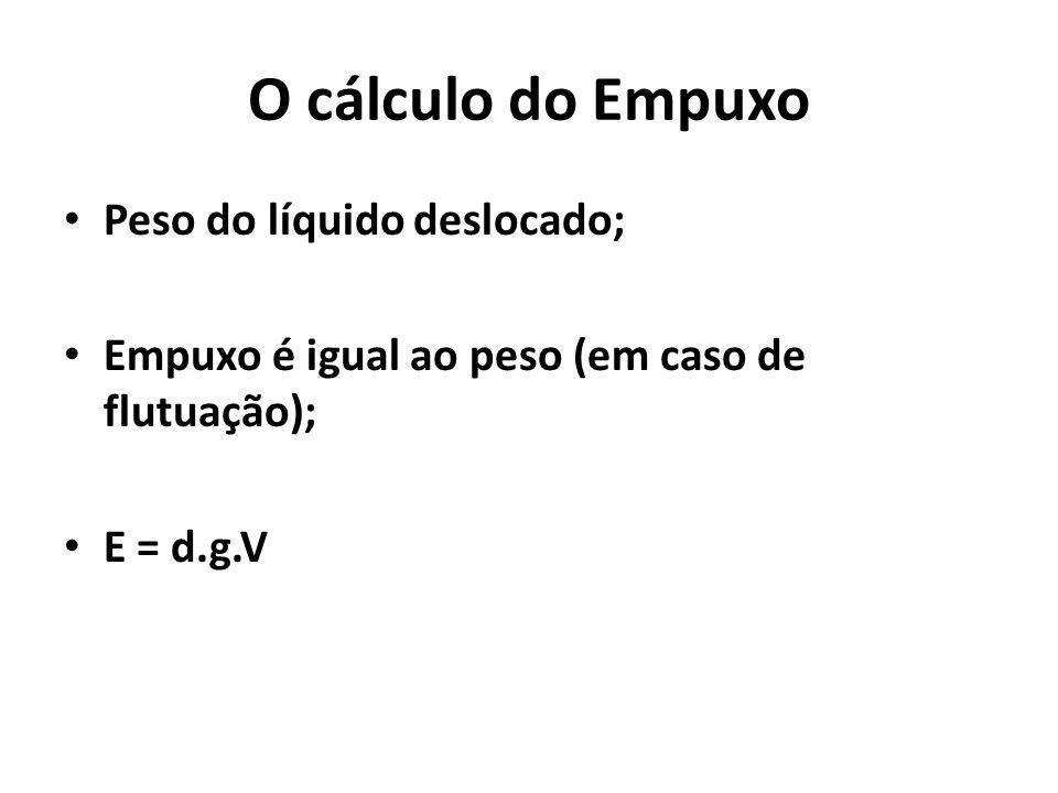 O cálculo do Empuxo Peso do líquido deslocado;