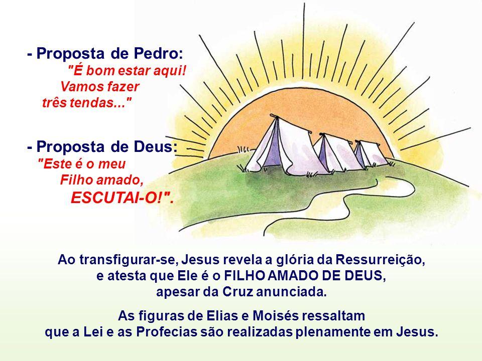 - Proposta de Pedro: - Proposta de Deus: Vamos fazer três tendas...