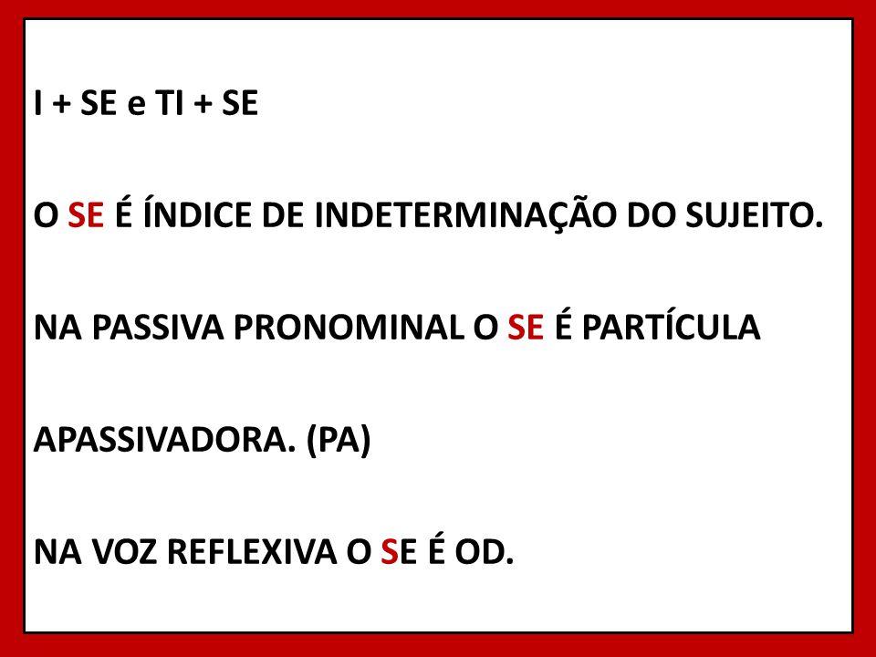 I + SE e TI + SE O SE É ÍNDICE DE INDETERMINAÇÃO DO SUJEITO