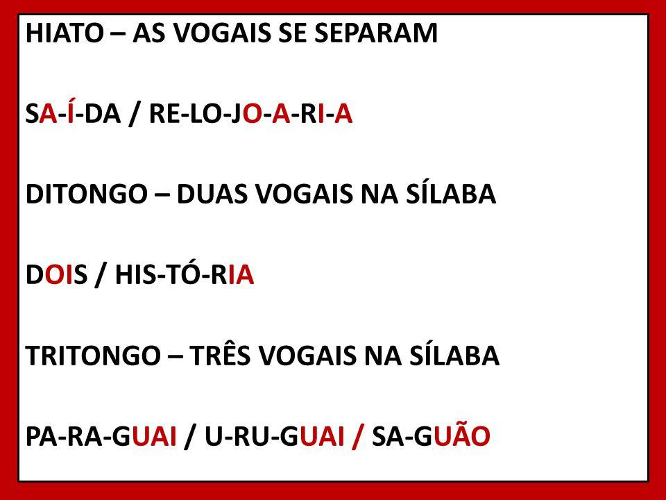 HIATO – AS VOGAIS SE SEPARAM SA-Í-DA / RE-LO-JO-A-RI-A DITONGO – DUAS VOGAIS NA SÍLABA DOIS / HIS-TÓ-RIA TRITONGO – TRÊS VOGAIS NA SÍLABA PA-RA-GUAI / U-RU-GUAI / SA-GUÃO