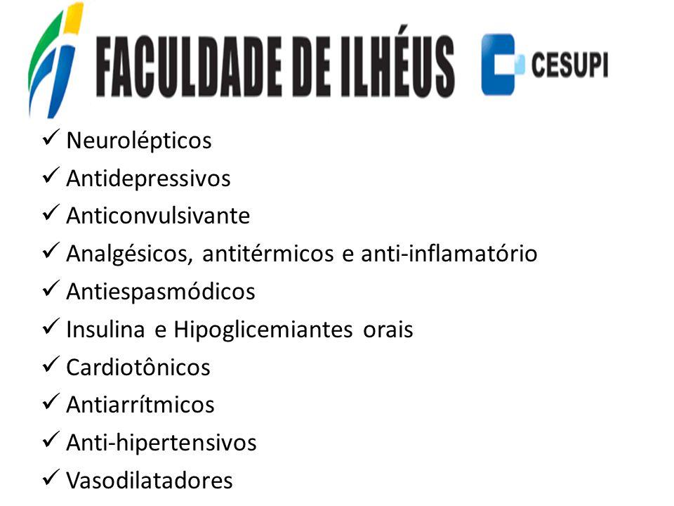 Neurolépticos Antidepressivos. Anticonvulsivante. Analgésicos, antitérmicos e anti-inflamatório. Antiespasmódicos.