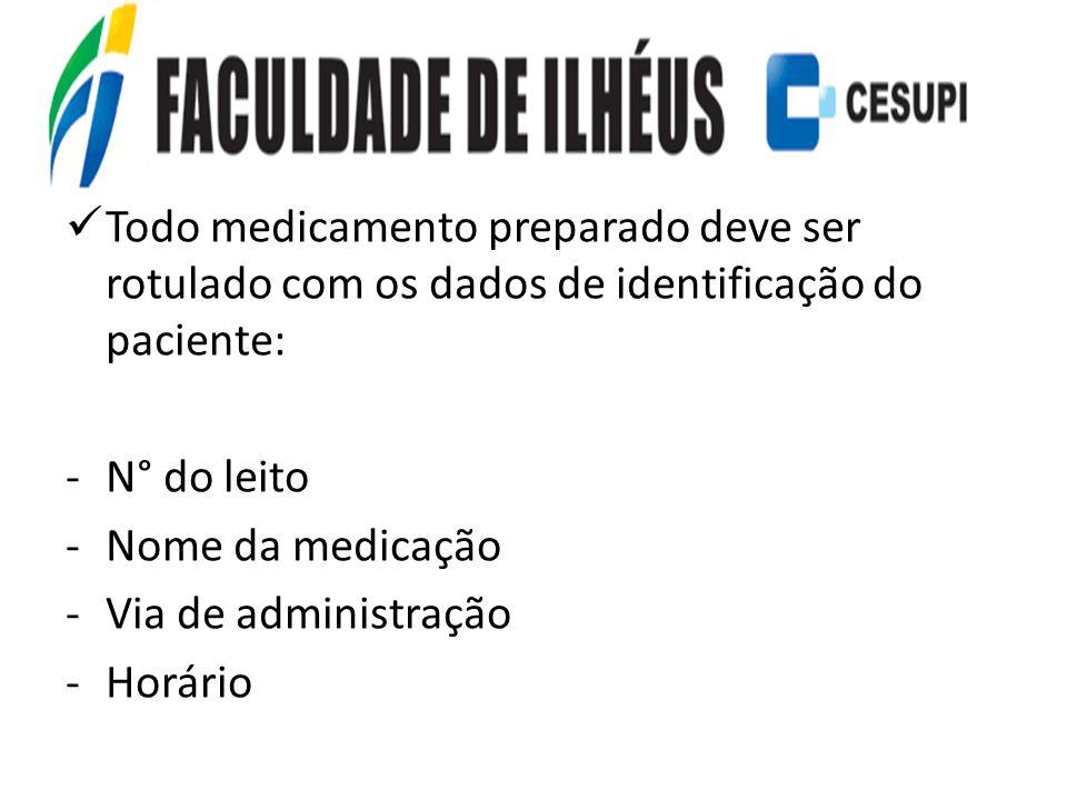 Todo medicamento preparado deve ser rotulado com os dados de identificação do paciente: