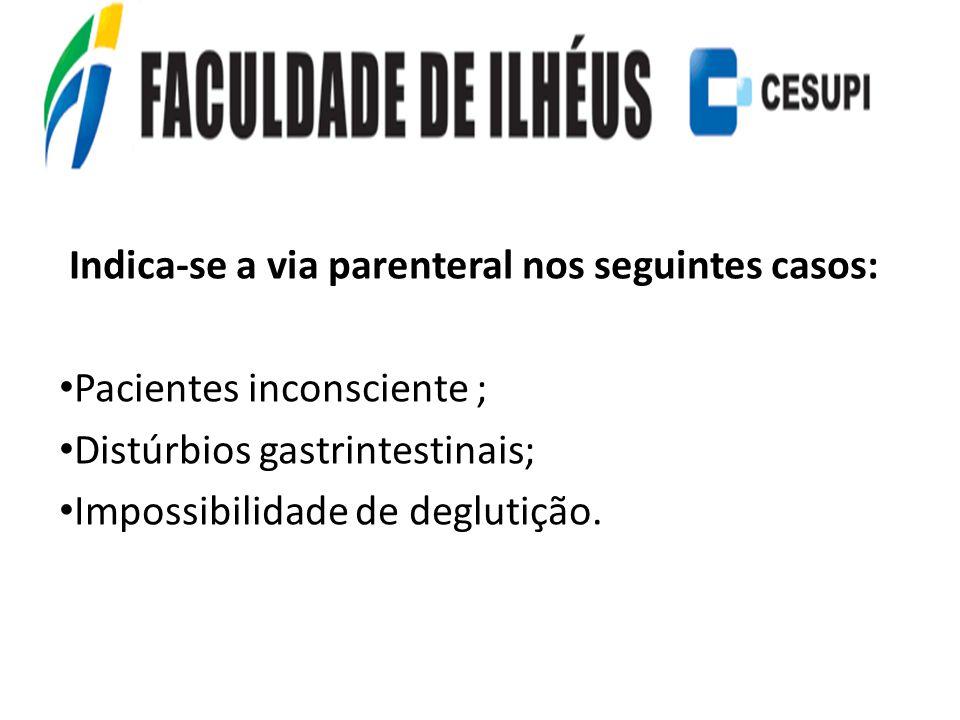 Indica-se a via parenteral nos seguintes casos: