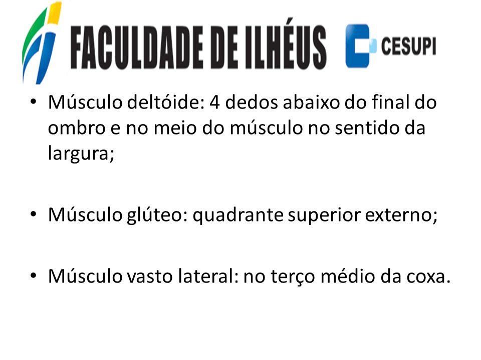 Músculo deltóide: 4 dedos abaixo do final do ombro e no meio do músculo no sentido da largura;