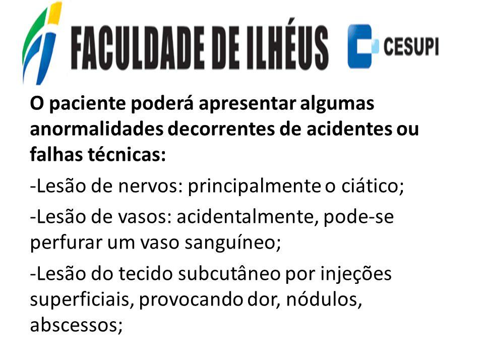 O paciente poderá apresentar algumas anormalidades decorrentes de acidentes ou falhas técnicas: