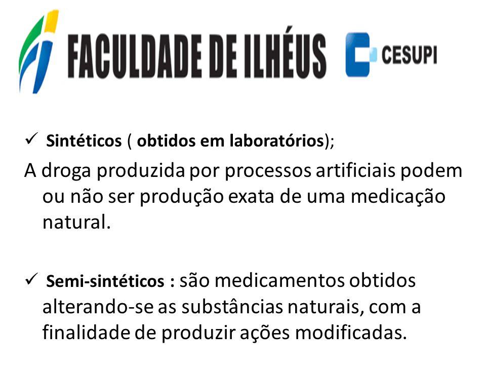 Sintéticos ( obtidos em laboratórios);