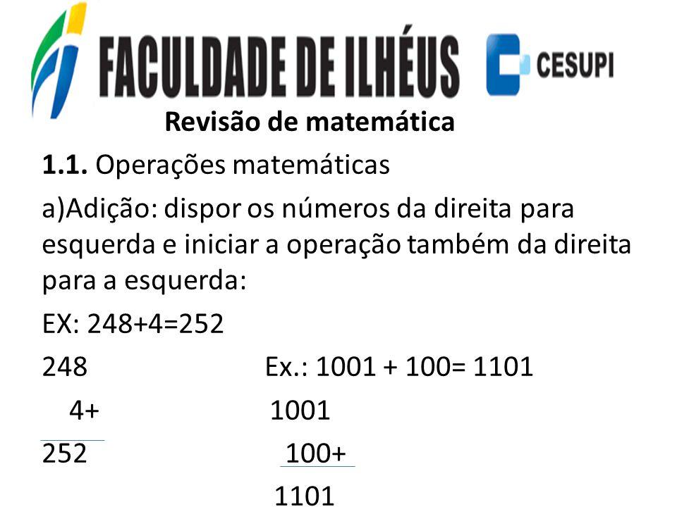 Revisão de matemática 1.1. Operações matemáticas.