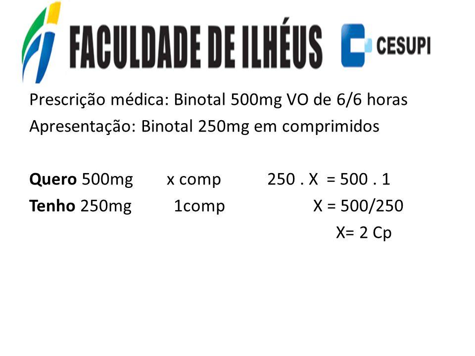Prescrição médica: Binotal 500mg VO de 6/6 horas Apresentação: Binotal 250mg em comprimidos Quero 500mg x comp 250 .