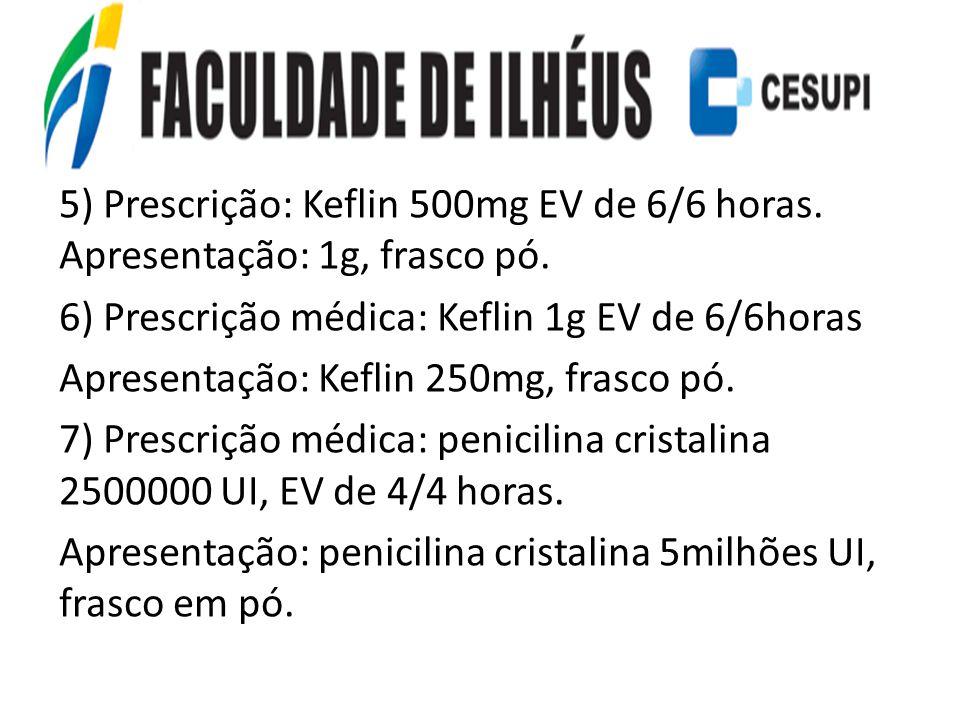 5) Prescrição: Keflin 500mg EV de 6/6 horas