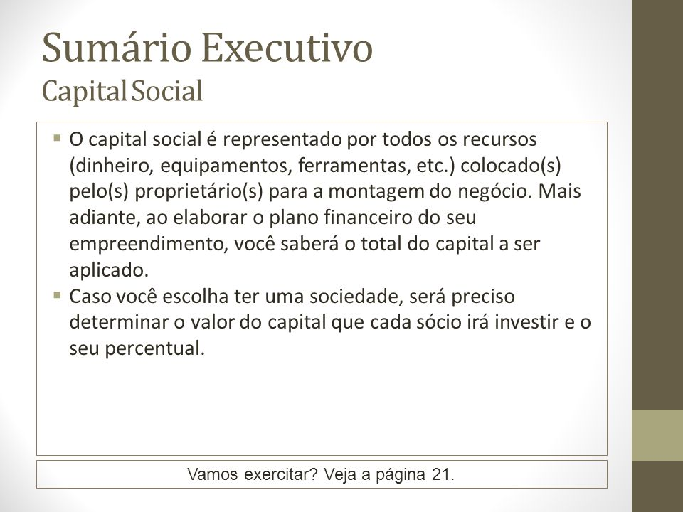 Sumário Executivo Capital Social