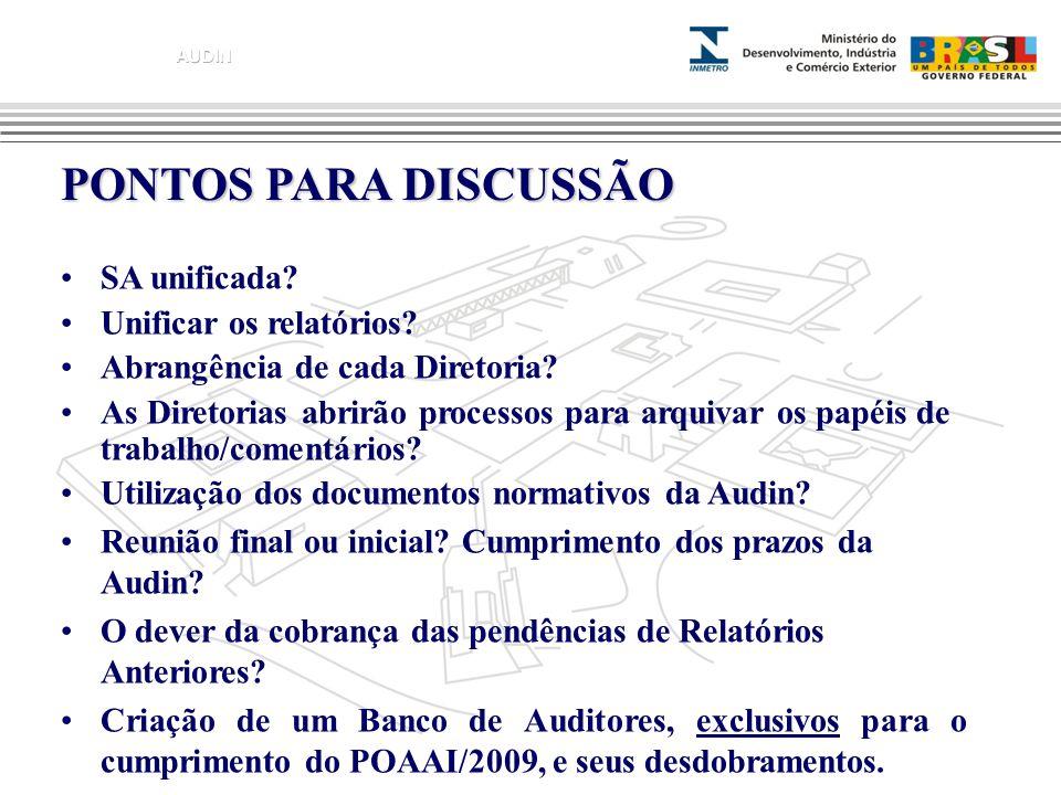 PONTOS PARA DISCUSSÃO SA unificada Unificar os relatórios