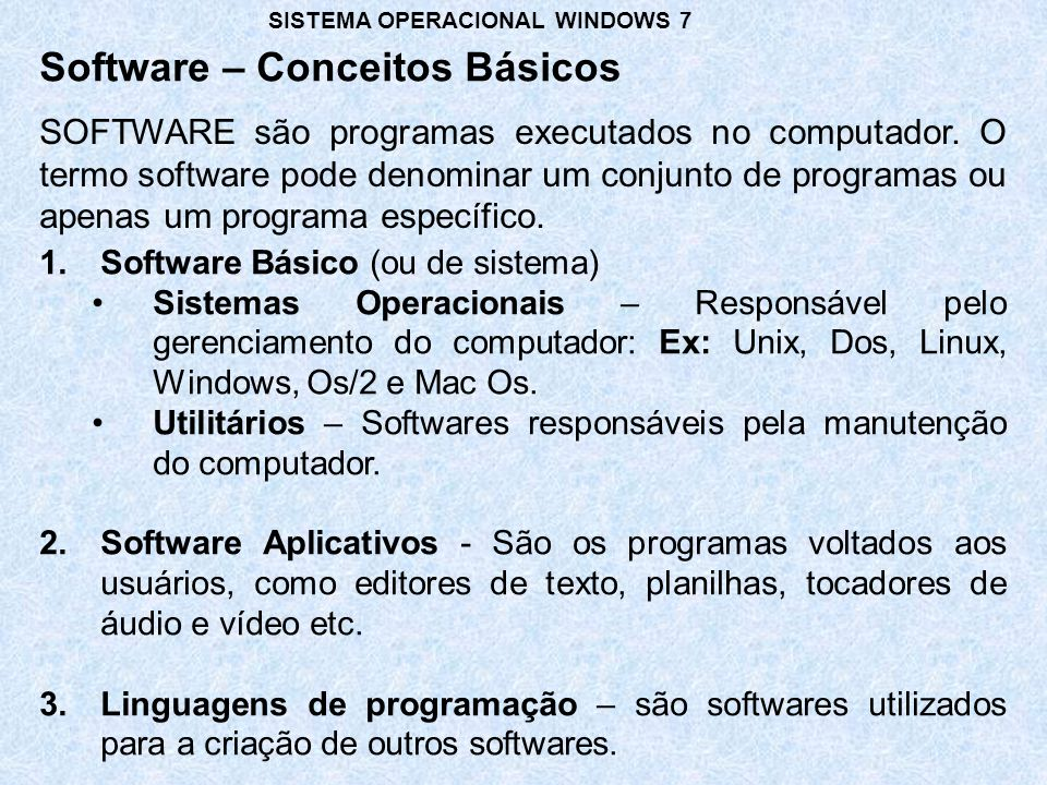 Software – Conceitos Básicos