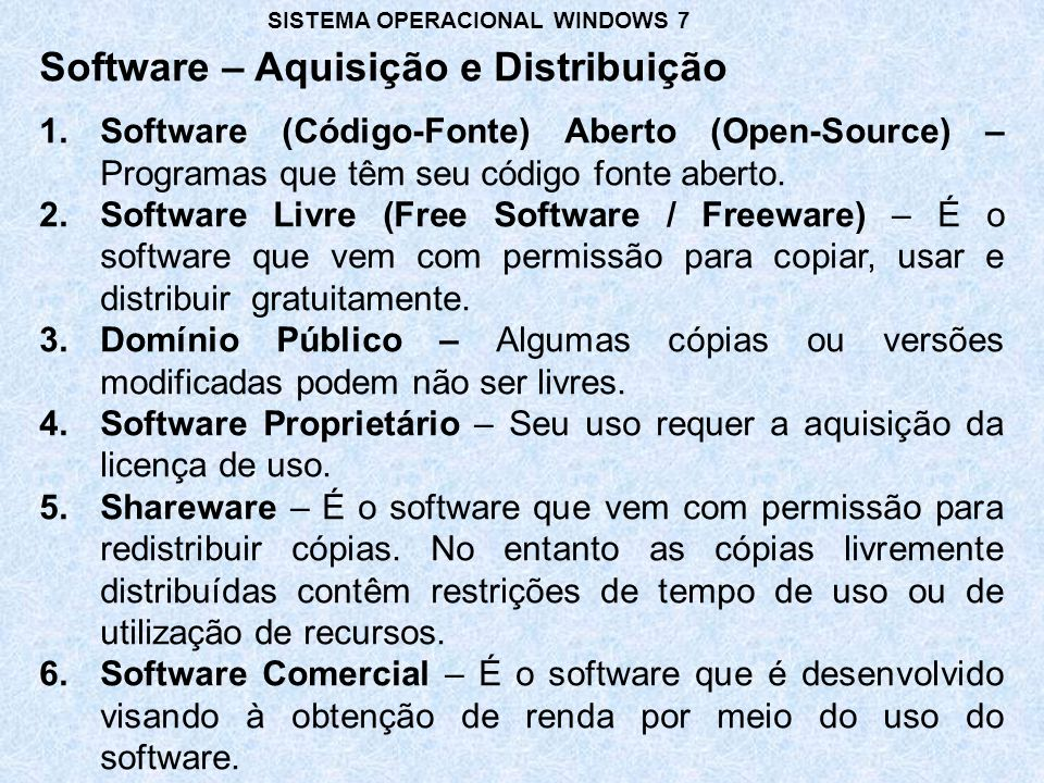 Software – Aquisição e Distribuição