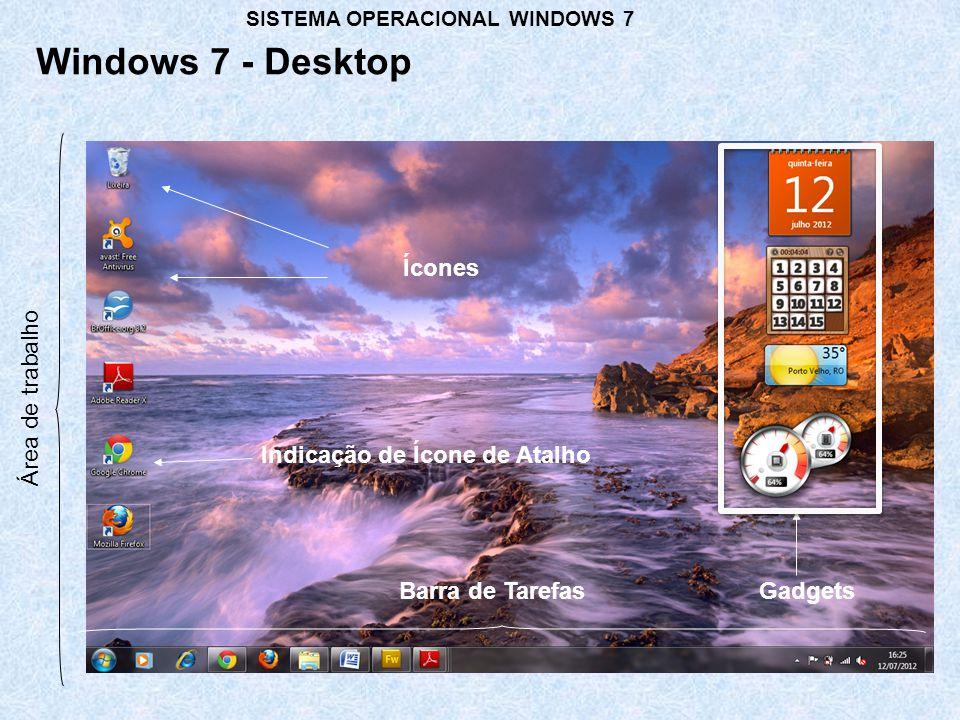 Windows 7 - Desktop Área de trabalho Gadgets Ícones