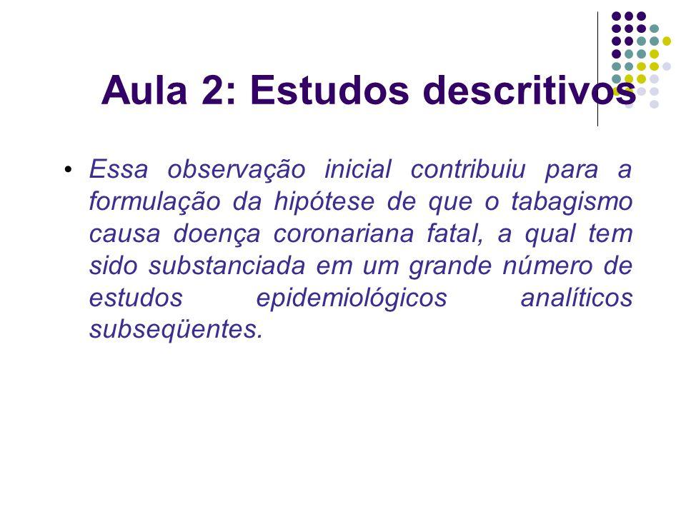 Aula 2: Estudos descritivos