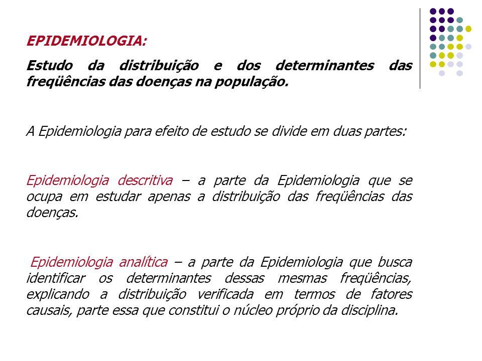 EPIDEMIOLOGIA: Estudo da distribuição e dos determinantes das freqüências das doenças na população.
