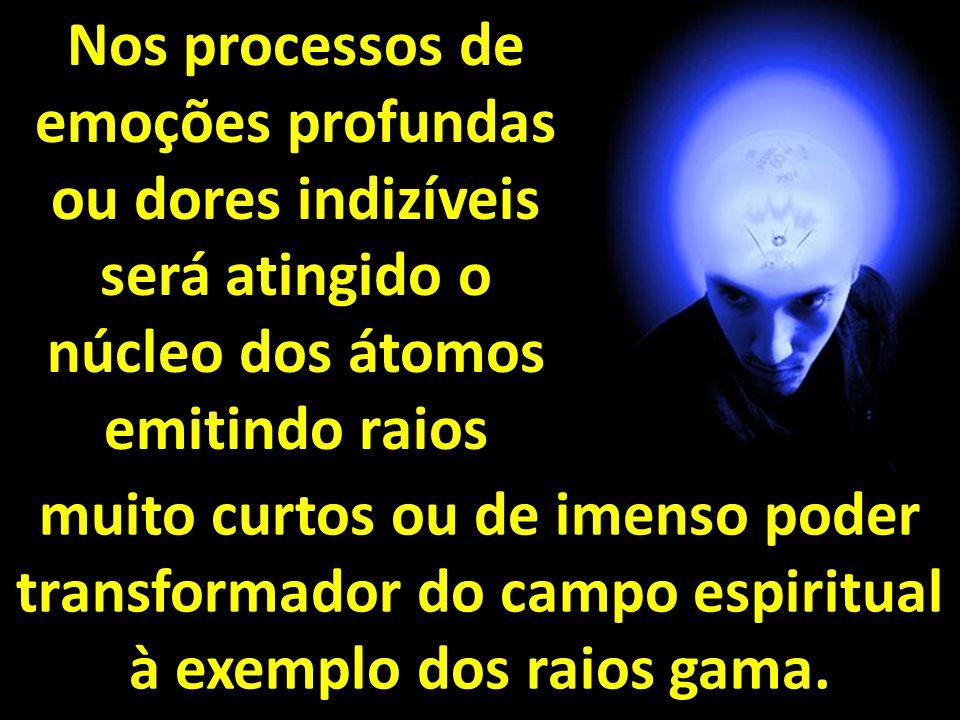 Nos processos de emoções profundas ou dores indizíveis será atingido o núcleo dos átomos emitindo raios