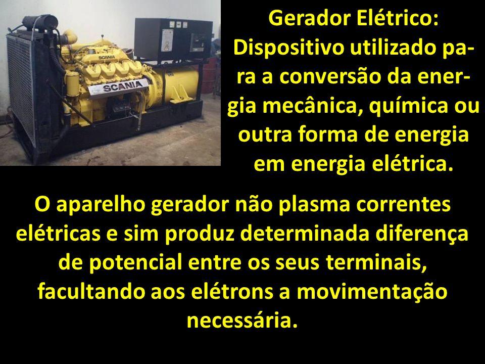 Gerador Elétrico: Dispositivo utilizado pa-ra a conversão da ener-gia mecânica, química ou outra forma de energia em energia elétrica.