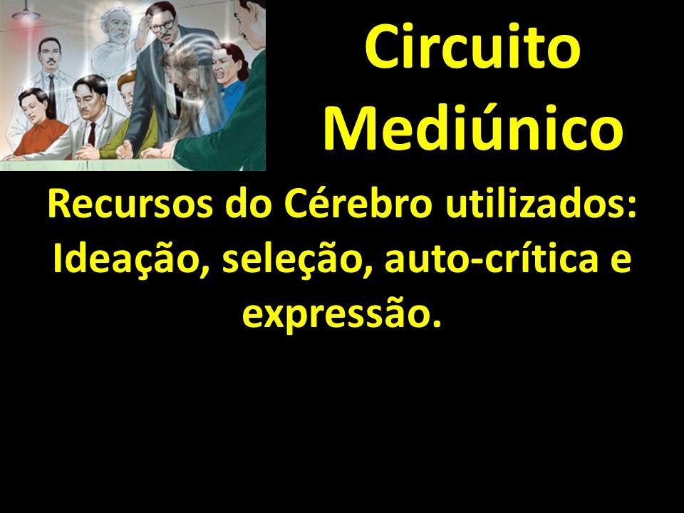 Circuito Mediúnico Recursos do Cérebro utilizados: Ideação, seleção, auto-crítica e expressão.