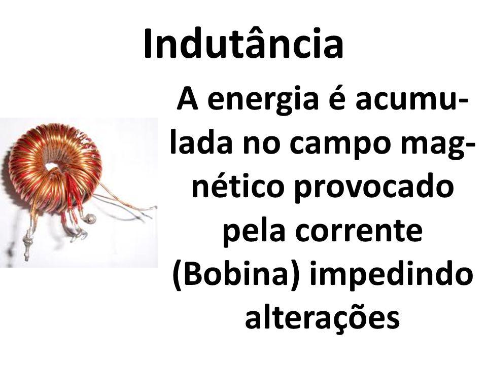 Indutância A energia é acumu-lada no campo mag-nético provocado pela corrente (Bobina) impedindo alterações.