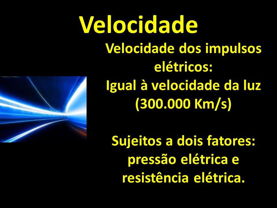 Velocidade Velocidade dos impulsos elétricos: