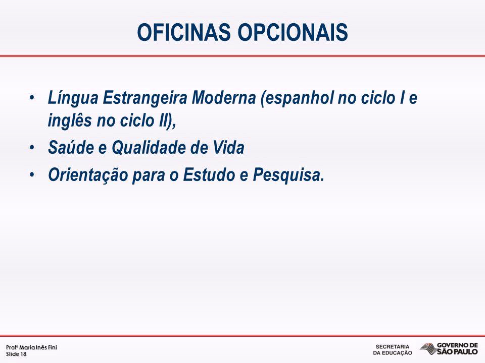 OFICINAS OPCIONAIS Língua Estrangeira Moderna (espanhol no ciclo I e inglês no ciclo II), Saúde e Qualidade de Vida.