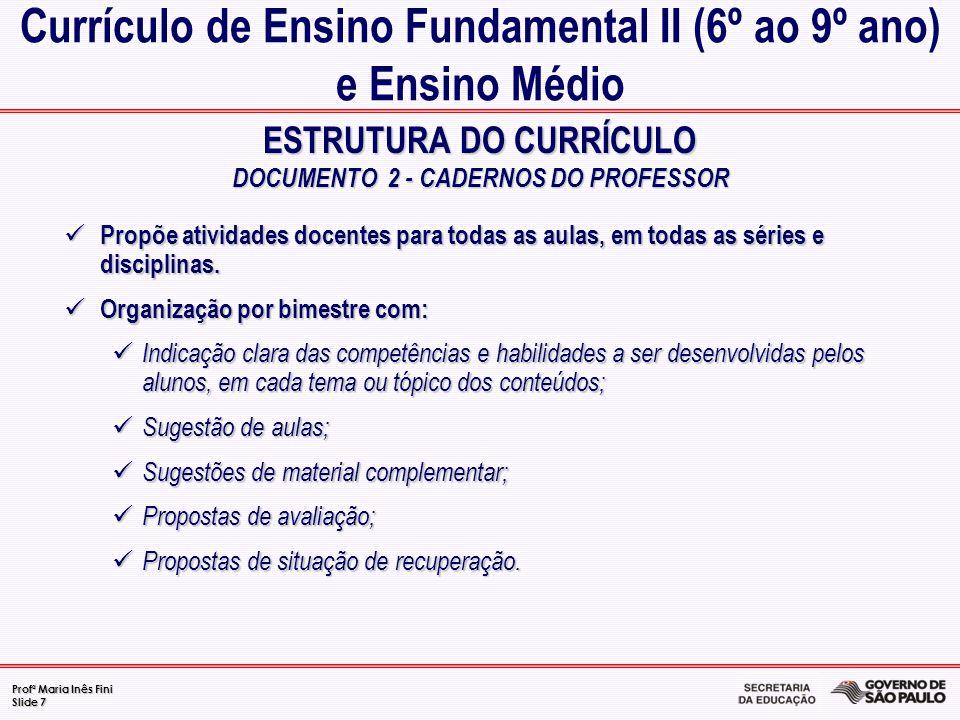 Currículo de Ensino Fundamental II (6º ao 9º ano) e Ensino Médio